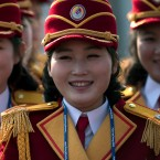 Members of the North Korea cheering group gather before a welcome ceremony inside the Gangneung Olympic Village prior to the 2018 Winter Olympics in Gangneung, South Korea, Thursday, Feb. 8, 2018.