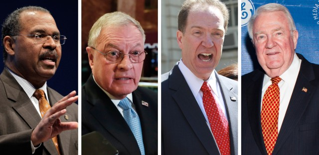 Former Ohio Secretary of State Ken Blackwell (from left), retired Lt. Gen. Keith Kellogg, David R. Malpass and former Attorney General Edwin Meese are serving as key members of President-elect Donald Trump's transition team.