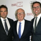 Rupert Murdoch (center) and his sons Lachlan (left) and James attend the 2014 Television Academy Hall of Fame in Beverly Hills, Calif.
