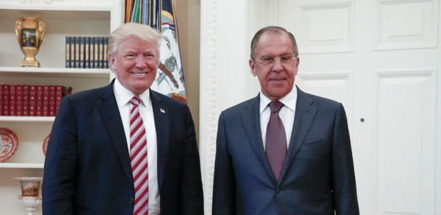 President Donald Trump meets with Russian Foreign Minister Sergey Lavrov, right, at the White House in Washington, Wednesday, May 10, 2017. President Donald Trump on Wednesday welcomed Vladimir Putin's top diplomat to the White House for Trump's highest level face-to-face contact with a Russian government official since he took office in January.