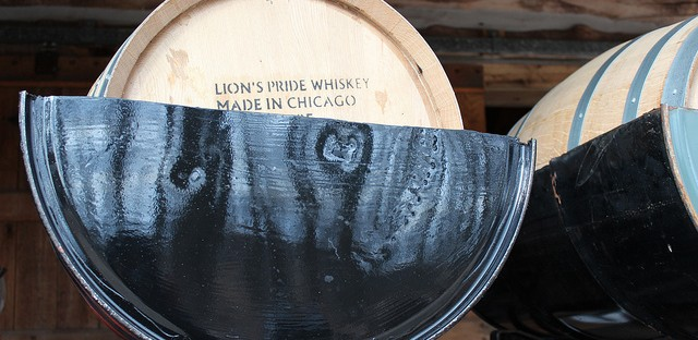 Koval Distillery Lion's Pride Whiskey barrels at Burton's Maplewood Farm in Medora, Indiana