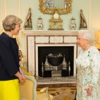 Queen Elizabeth II speaks with Theresa May, left, at the start of an audience in Buckingham Palace, London, where she invited the former Home Secretary to become Prime Minister and form a new government, Wednesday July 13, 2016.