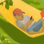 Young boy in a hammock reading while a book and a dollar dangle before him on a hook