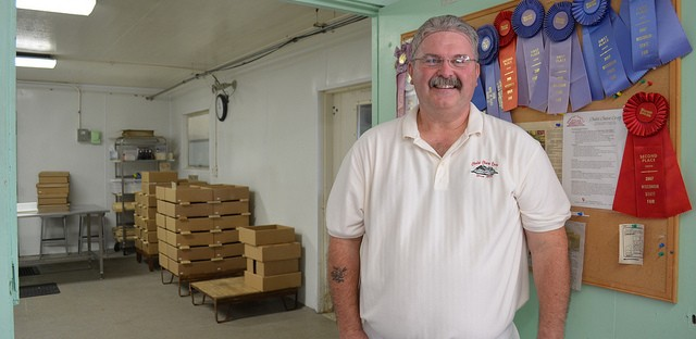 Limburger cheesemaker Myron Olson at Chalet Cheese