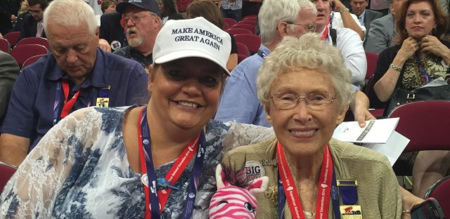Maria Hough (left) and Stella Kozanecki pose at the 2016 Republican National Convention, where the two served as delegates for Donald Trump. They say their support for their candidate has not wavered after the release of a video in which Trump made vulgar comments about women.