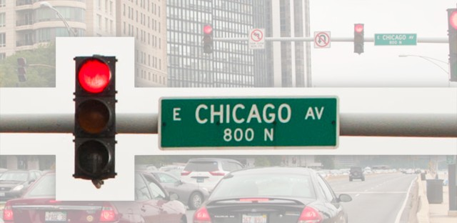The stoplight at Chicago Ave. and Lake Shore Drive is