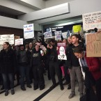 Protesters at Terminal 5 of O'Hare International Airport.