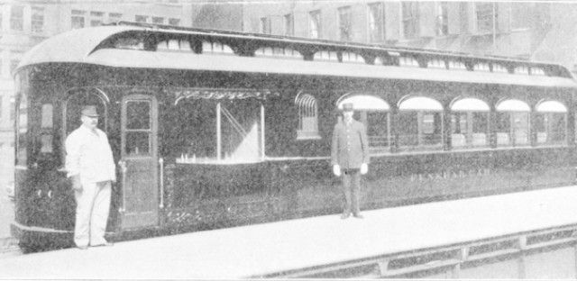 This was once a normal passenger car. The railroad company added a special door for the corpse, painted the outside black, and BAM! Funeral car.
