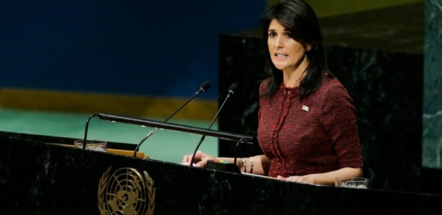 U.S. Ambassador to the U.N. Nikki Haley addresses the General Assembly prior to the body's censure vote on Jerusalem on Thursday.