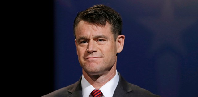 In this Oct. 18, 2016 file photo, Indiana U.S. Senate Republican candidate Todd Young participates in a debate in Indianapolis.