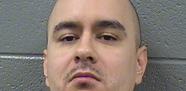 This undated photo provided by the Cook County Sheriff's Department shows Thaddeus Jimenez. Jimenez, who won a $25 million award in 2012 for a wrongful murder conviction only to spend it on rebuilding his Simon City Royals street gang was sentenced to nine years in prison by a federal judge Thursday March. 9, 2017, in Chicago. U.S. District Judge Harry Leinenweber sentenced Jimenez after prosecutors showed a video of Jimenez calmly shooting a former gang member in both legs.