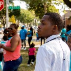 Tanue David, of Chicago Survivors, helps hand out flyers in September of 2017 on the one-year anniversary of a murder.