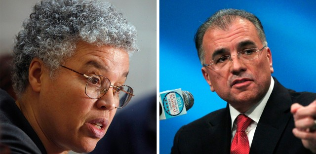 Cook County Board President Toni Preckwinkle (left) and attorney Gery Chico (right).