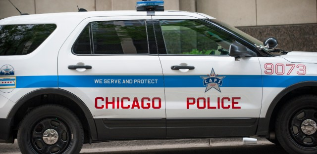 A Chicago Police Department vehicle. On Monday, Chicago police officer Robert Rialmo testified as part of a hearing to decide whether he should be fired for a shooting that killed two people.