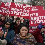 Activists rally in front of the U.S. Supreme Court on Feb. 26.