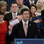 Speaker of the House Paul Ryan, surrounded by American families, and members of the House Republican leadership introduces tax reform legislation on Thursday in Washington, D.C