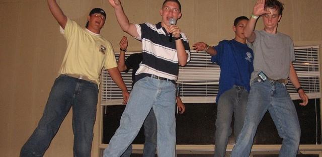 A group of  boys performs N'Sync's 'Bye, Bye, Bye' at camp