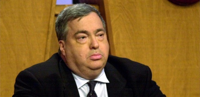 Chicago Bulls executive vice-president Jerry Krause listens as the Bulls were chosen to pick fourth in the draft at the 2001 Draft Lottery Sunday, May 20, 2001, in Secaucus, N.J. The Bulls had a 25 percent chance to win the first pick but dropped to fourth as the Washington Wizards won the first pick.