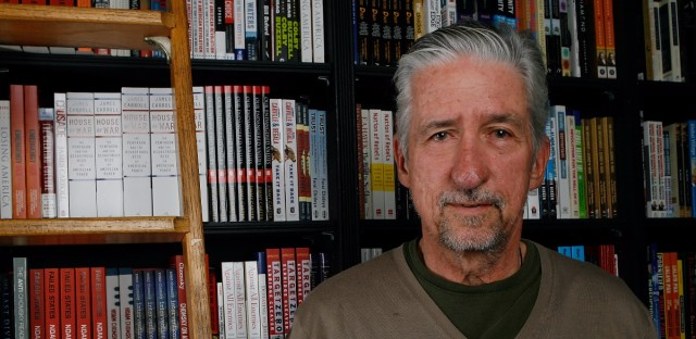 """Author Tom Hayden poses before signing copies of his book, """"Ending The War in Iraq"""" at Book Soup in Los Angeles in 2007. Hayden has died at 76."""