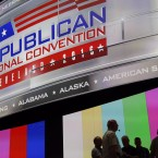 People gather onstage July 16 as preparations take place inside Quicken Loans Arena for the Republican National Convention in Cleveland. The convention is set to run July 18-21.