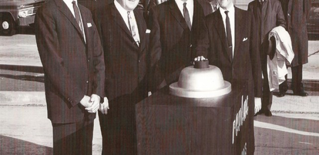 The opening of the reversible lanes on the Kennedy in the early 1960s. The man with the hand on the big button is Illinois' 33rd Governor, Otto Kerner, Jr.