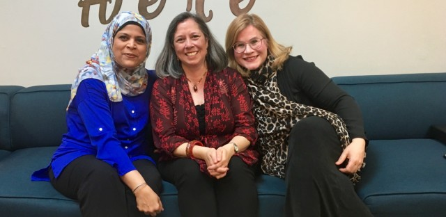 Khadija Ahmed (left), Rina Campbell (center) and Laura Frisch attended an interfaith iftar in Morton Grove on May 9.