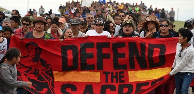 The Standing Rock Sioux Tribe says the planned pipeline could contaminate its drinking water and sacred lands.