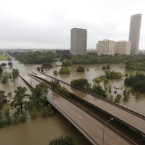 Overhead view of the floods from Buffalo Bayou in Houston, as heavy rains continued falling on Monday.