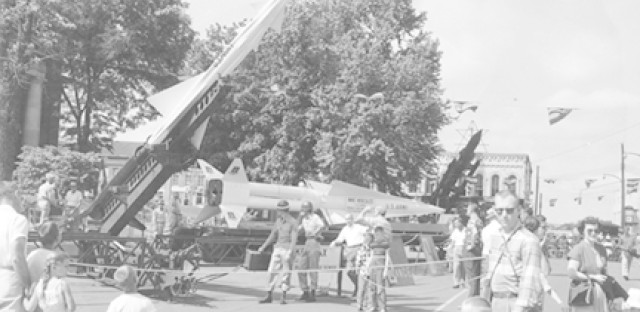A Nike missile displayed for the public.