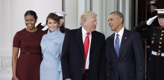 President Obama and first lady Michelle Obama pose with President-elect Donald Trump and his wife, Melania, at the White House on Friday.