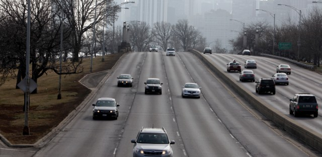 Traffic moves along smoothly on a stretch of Lake Shore Drive Wednesday, Feb. 1, 2012 in Chicago.