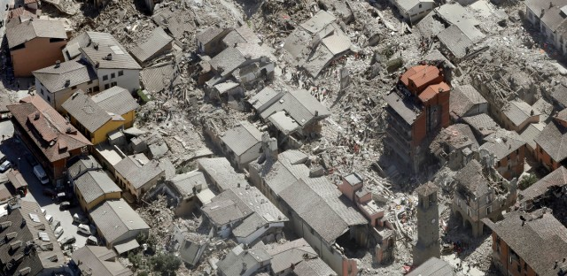 Aerial view of Amatrice in central Italy, Wednesday, Aug. 24, 2016, as it appears after a magnitude 6 quake struck at 3:36 a.m. (0136 GMT) and was felt across a broad swath of central Italy, including Rome where residents of the capital felt a long swaying followed by aftershocks.