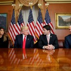 President-elect Donald Trump, his wife Melania and Vice president-elect Mike Pence, pose for photographers with House Speaker Paul Ryan of Wis. after a meeting in the Speaker's office on Capitol Hill in Washington, Thursday, Nov. 10, 2016.