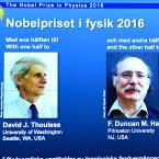 "Winners of the 2016 Nobel Prize in Physics are displayed on a screen during a press conference at the Royal Swedish Academy of Sciences in Stockholm on Tuesday. David J. Thouless, F. Duncan M. Haldane and J. Michael Kosterlitz were awarded the 2016 Nobel Physics Prize ""for theoretical discoveries of topological phase transitions and topological phases of matter."""