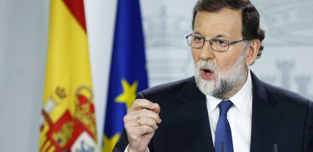 Spanish Prime Minister Mariano Rajoy speaks during a press conference after a Cabinet meeting at Moncloa Palace on Saturday in Madrid.