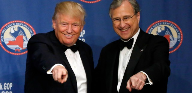 Republican presidential candidate Donald Trump, left, points to the crowd with New York State Republican Chairman Edward F. Cox after speaking during the New York Republican State Committee Annual Gala Thursday, April 14, 2016, in New York.