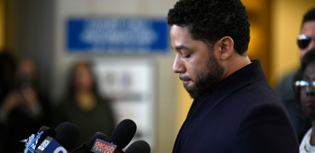 Actor Jussie Smollett talks to the media before leaving Cook County Court after his charges were dropped Tuesday, March 26, 2019, in Chicago.