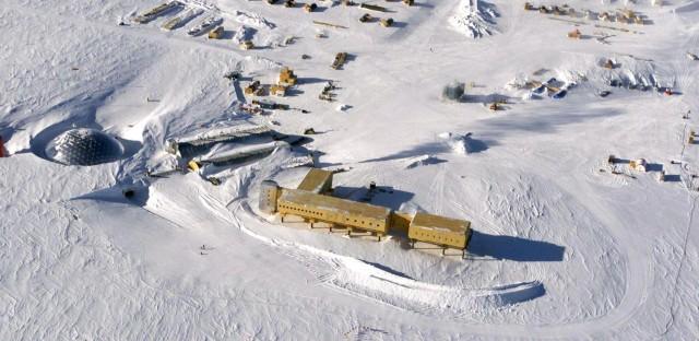 The U.S. Amundsen-Scott South Pole Station in Antarctica as seen in 2002.