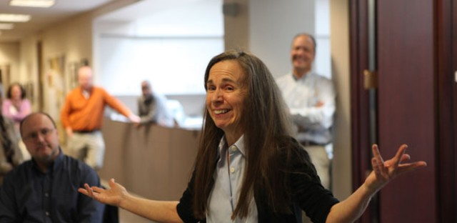 Chicago 'Tribune' columnist Mary Schmich after winning the Pulitzer Prize in April.
