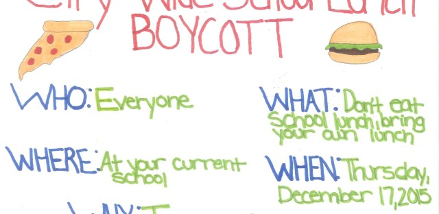 A flyer Roosevelt High School students created to promote their lunch boycott.