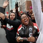 Fans cheer during a send off pep rally for the Atlanta Falcons football team as they make their way to the airport for a flight to Houston and Super Bowl 51 to Sunday, Jan. 29, 2017, in Atlanta