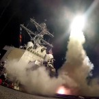 A still from a video released by the U.S. Navy on Thursday evening shows the guided-missile destroyer USS Porter (DDG 78) as it conducts strike operations while in the Mediterranean Sea.