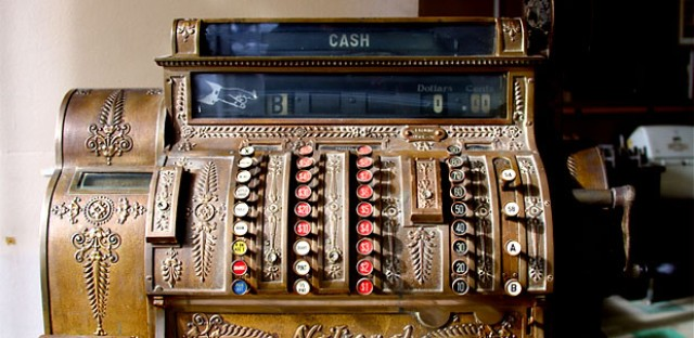 An antique cash register from a hotel bar at the A.J. Thomas Midwest Cash Register Company in Chicago's West Loop.