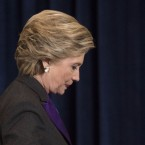 Democratic presidential candidate Hillary Clinton walks off the stage after speaking in New York, Nov. 9.
