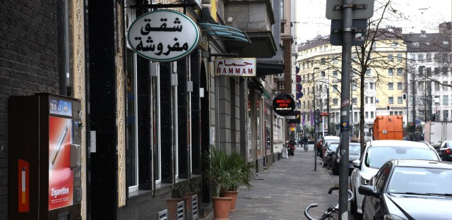 """Duesseldorf's """"Maghreb Quarter"""" — named for the region that includes Tunisia, Algeria and Morocco --€"""" is home to many North African restaurants and shops."""