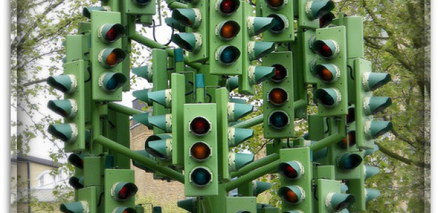 A traffic light sculpture in London. We cannot tell whether this works on an actuated or fixed time system.