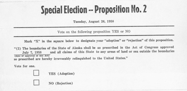 Of course, ballot design has been a matter of focus since even before we had all 50 states as we know them today. Here is a 1958 ballot on the question of whether to make Alaska the 49th state.