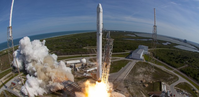 The first stage on Thursday's launch was used last April to send supplies to the space station.