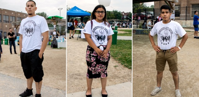 Berto Aguayo, left, is the lead organizer of 'The Resurrection Project,' which organizes summer campouts throughout the South Side.  Mayra Martinez, middle, and Luis Rafael, right, are youth leaders and volunteers for the organization.