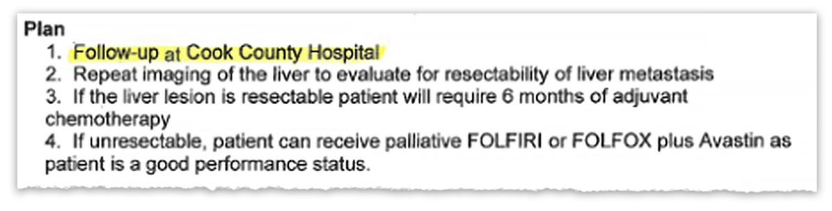 An excerpt from a discharge form shared in a Cook County Health presentation. The first step of the treatment plan reads 'Follow up at Cook County Hospital'